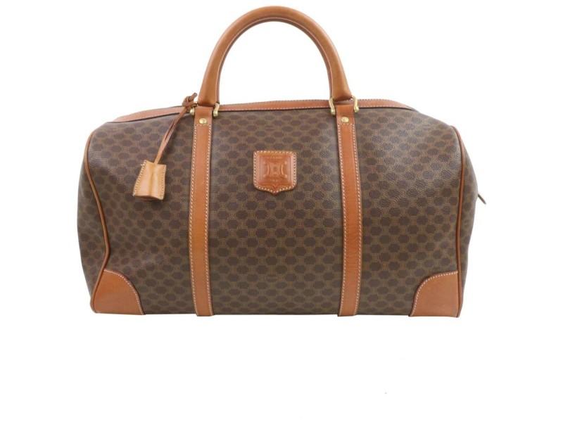 Céline Macadam Boston Duffle 872157 Monogram Brown Coated Canvas Weekend/Travel Bag