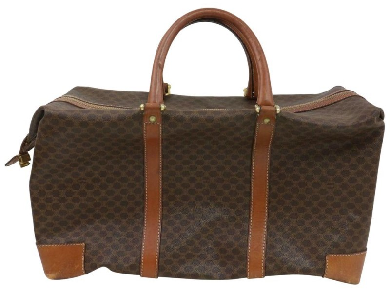 Céline Macadam Boston Duffle Extra Large Monogram 871473 Brown Coated Canvas Weekend/Travel Bag