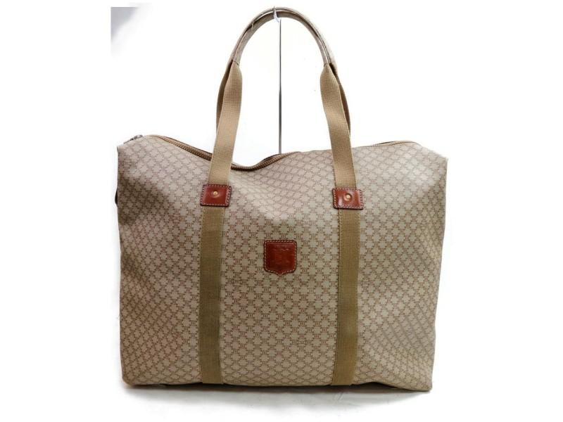 Céline Macadam Large Monogram Zip Tote 871786 Beige Coated Canvas Weekend/Travel Bag