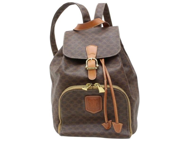 Céline Macadam Monogram Mini 871534 Brown Coated Canvas Backpack