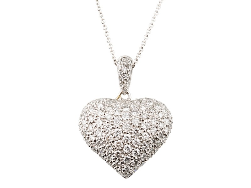 18k white gold 14ct pave diamond heart pendant necklace other 18k white gold 14ct pave diamond heart pendant necklace aloadofball Choice Image