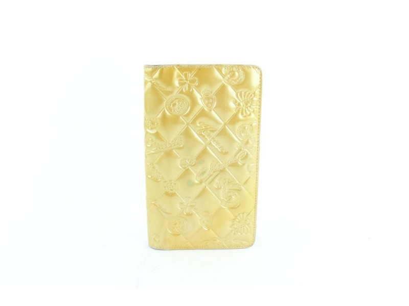 Chanel Quilted Long Bifold Wallet 230674 Yellow Patent Leather Clutch