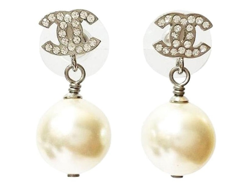 Chanel Classic Silver CC Rhinestone Simulated Glass Pearl Dangle Piercing Earrings
