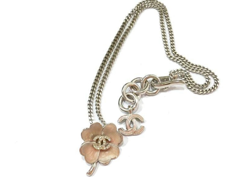 Chanel CC Light Pink Clover Silver Rhinestone Necklace