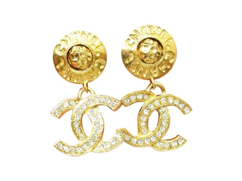 Chanel Gold Tone and Rhinestone CC Clip on Earrings