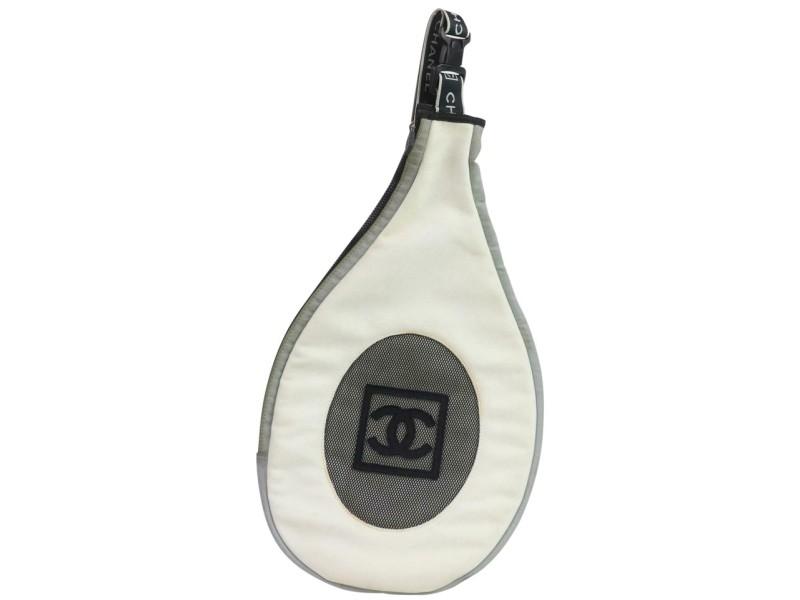 Chanel Backpack (Ultra Rare) Tennis Racquet Case Sports Cc Logo Sling 871555 White Nylon Cross Body Bag