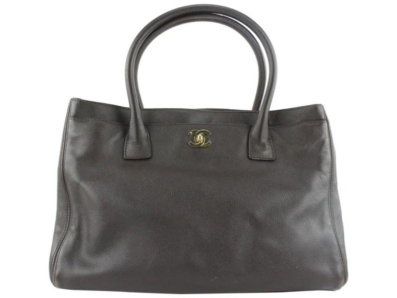 Chanel Dark Brown Caviar Leather Cerf Executive Tote Bag 216cas55