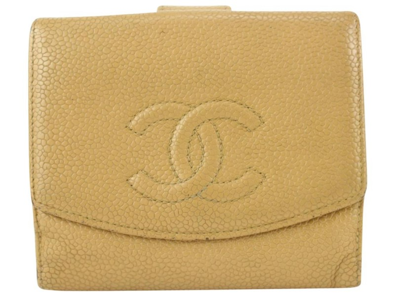 Chanel Beige Caviar CC Logo Coin Purse Compact Wallet 70cas630