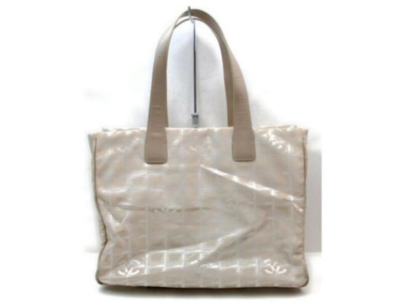 Chanel Beige New Line Mm 872934 Brown Nylon Tote