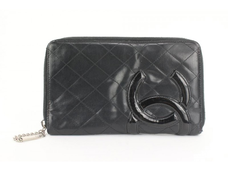 Chanel Large Black Quilted Cambon Ligne Zip Around Organizer Wallet  862621