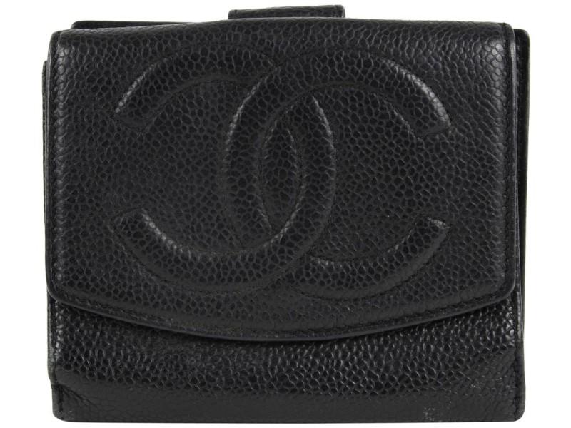 Chanel Black Caviar CC Logo Compact Wallet Change Pouch Coin 27ccs1223