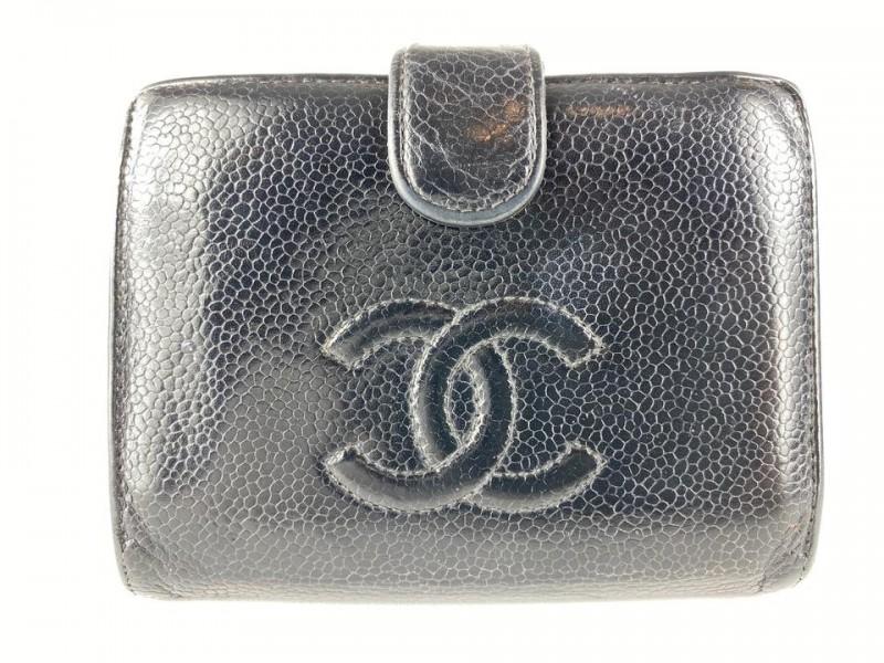 Chanel Black Caviar Leather CC Wallet Coin Purse Compact Wallet 8cc519