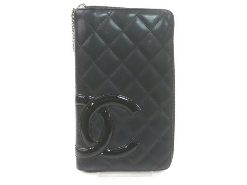 Chanel Large Black Quilted Leather Cambon Ligne Zippy Organizer Wallet 862319