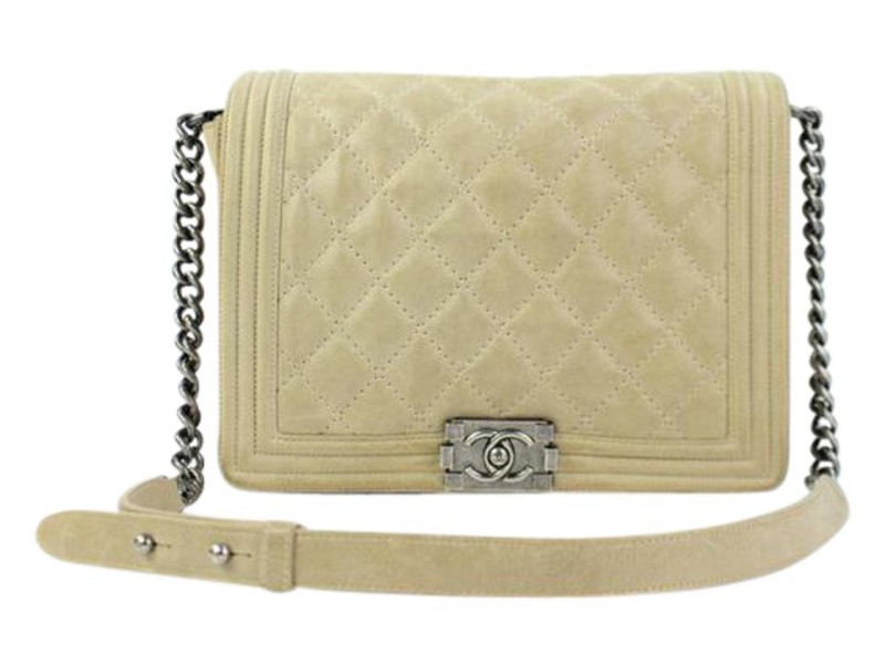 Chanel Boy Quilted Iridescent Le 26ccty51717 Beige Suede Leather Shoulder Bag