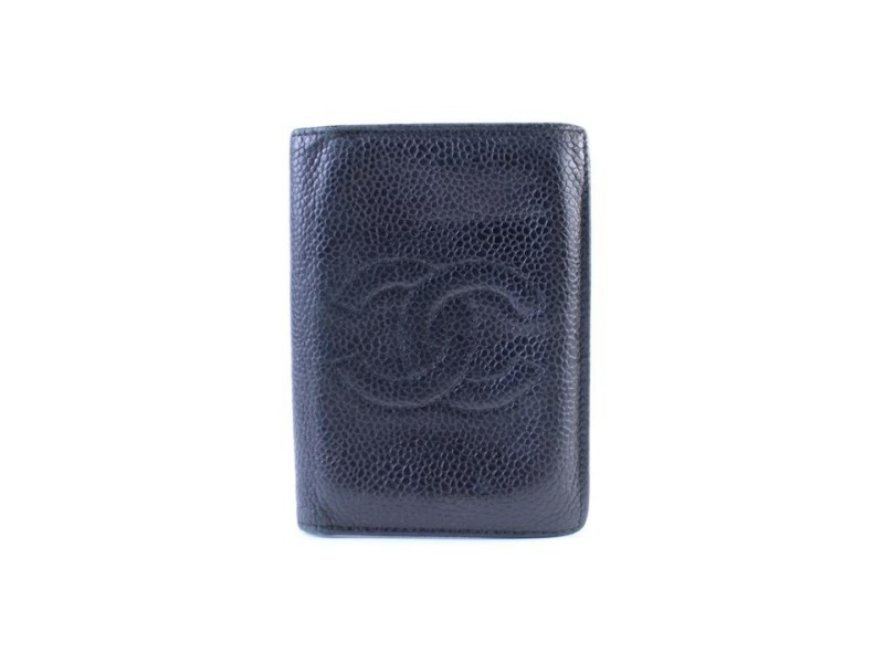 Chanel Caviar Card Holder 220940 Black Leather Clutch