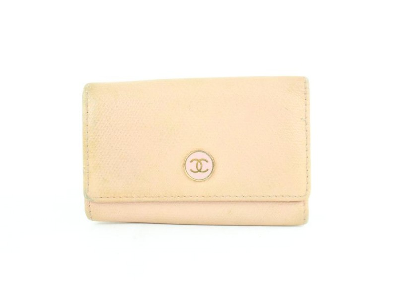Chanel Cc Button Line Cavar 6 Key Holder Case 12cz1005 Pink Leather Clutch