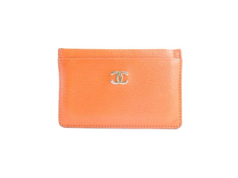 Chanel Cc Card Holder 15cr0604 Orange Leather Clutch