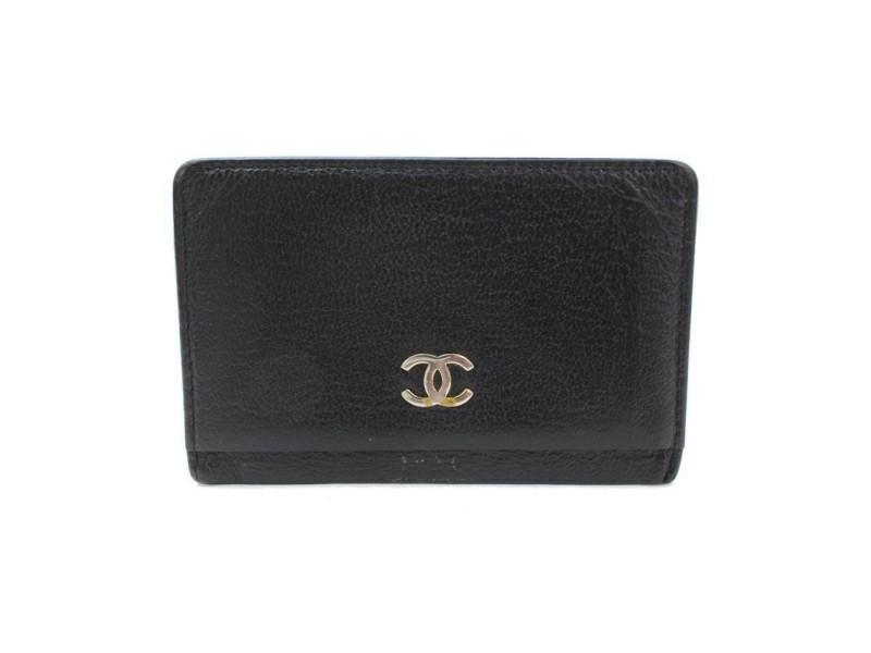 Chanel Cc Logo Case Holder Wallet 871207 Black Leather Clutch