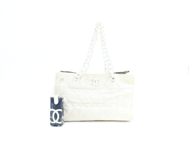 Chanel Chain Beach 225311 Ivory X White Cotton Blend Tote