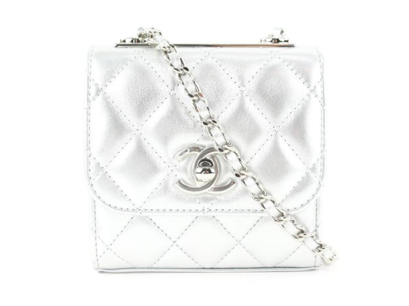 Chanel 21s Metallic Silver Lambskin Min Flap Chain Bag 593ccs315