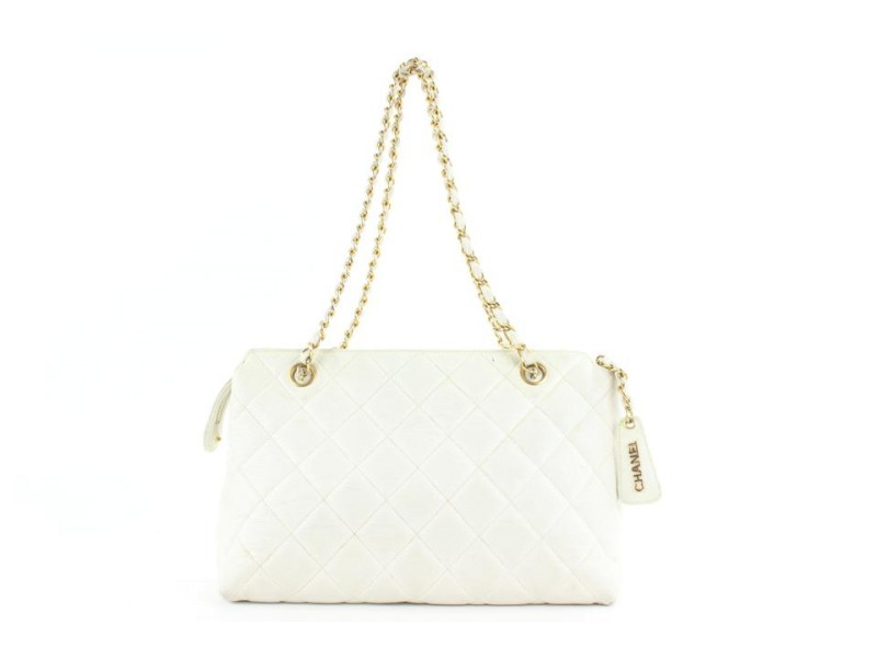 Chanel White Quilted Caviar Chain Bag 521cks38