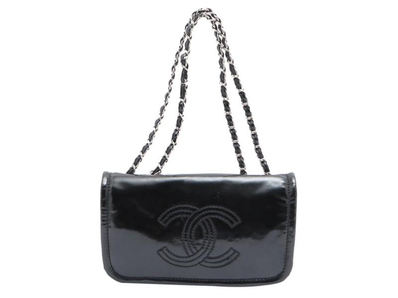 Chanel Black x SIlver Patent CC Logo Chain Flap Chain Bag 644cks317