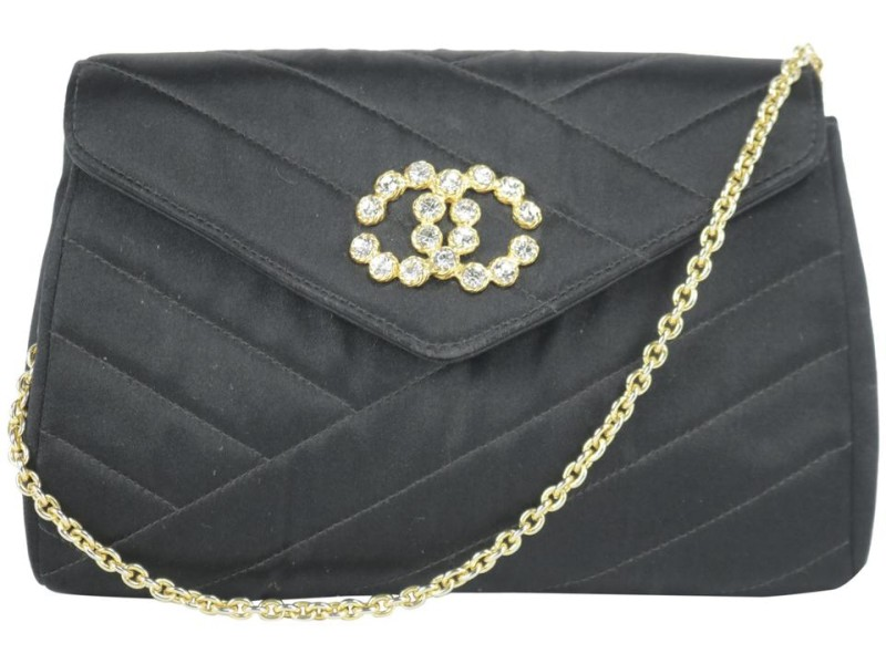 Chanel Classic Crossbody Crystal Cc Mini Flap 11ck1219 Black Satin Shoulder Bag