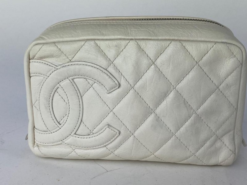 Chanel Cosmetic Pouch Cambon Quilted Toiletry 15ca527 Ivory Or Off White Leather Clutch