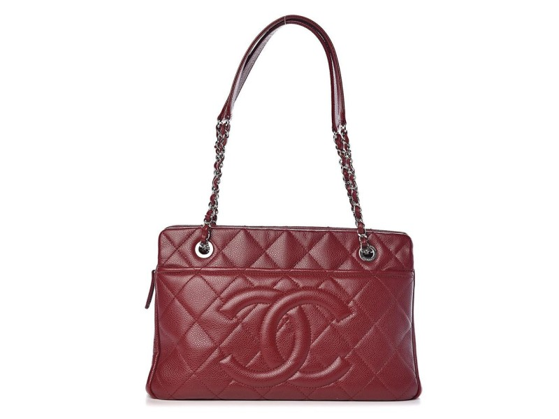 Chanel Dark Burgundy Timeless Shopper 20ck1220 Red Soft Caviar Leather Tote