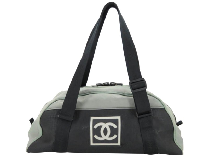 Chanel Duffle Cc Logo Sports Bicolor Two-tone Boston 866582 Grey Nylon Shoulder Bag