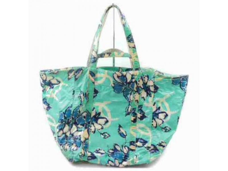 Chanel Floral Shopper 2way 872907 Green X Blue Vinyl Tote