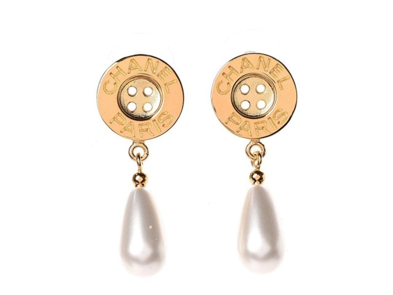 Chanel Metal Pearl Paris Button Drop Earrings Gold 860659