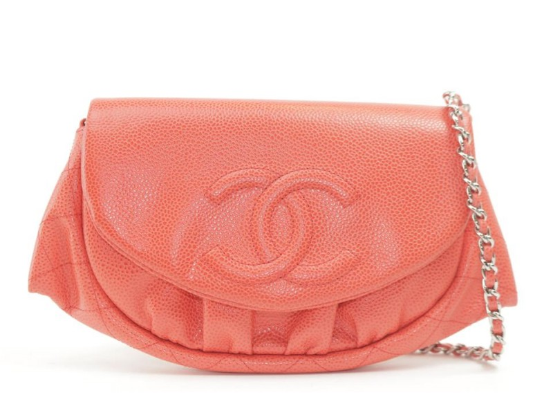 Chanel Half Moon Chain Flap 9ck1204 Red Caviar Leather Cross Body Bag