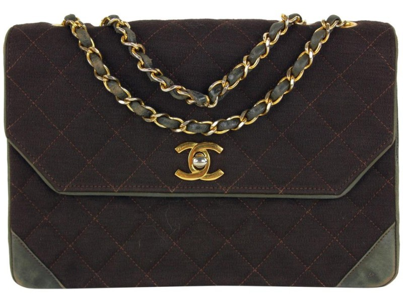 Chanel Quilted Brown Canvas x Leather Classic Chain Flap Bag Br862490