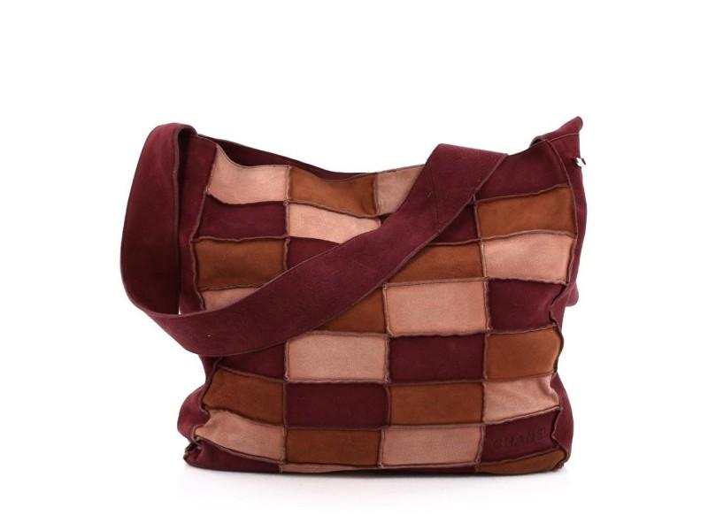 Chanel Hobo Patchwork Pink Brown Purple 3ca527 Burgundy Suede Leather Messenger Bag