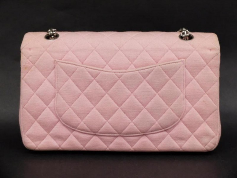 Chanel Mademoiselle Quilted Classic Medium Chain Flap 869914 Pink Cotton Shoulder Bag