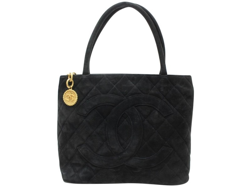 Chanel Quilted Medallion Charm Zip 869199 Black Suede Leather Tote