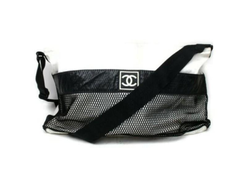 Chanel Messenger Bicolor Sports Cc Logo 872853 White Nylon Shoulder Bag