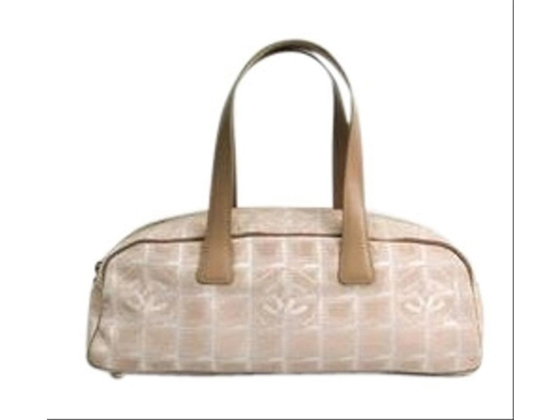 Chanel Hobo New Line Boston 6cca65 Beige Canvas X Leather Satchel