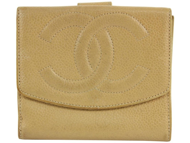 Chanel Nude Beige Caviar Leather CC Compact Wallet Coin Purse 11ccs1224