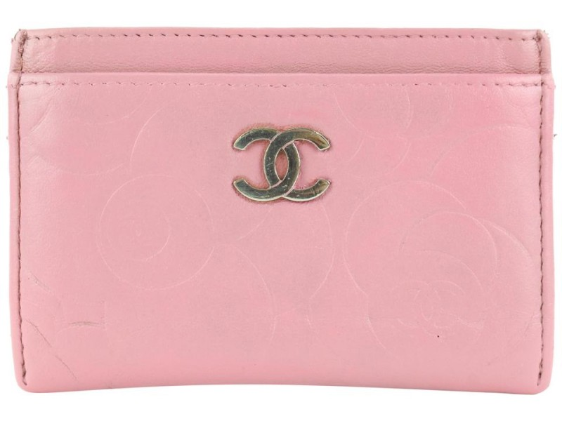 Chanel Pink Embossed Camellia Leather Card Case Wallet 200cas54