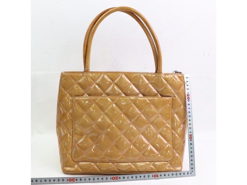 Chanel Quilted Burnt Orange Medallion Zip 871073 Brown Patent Leather Tote