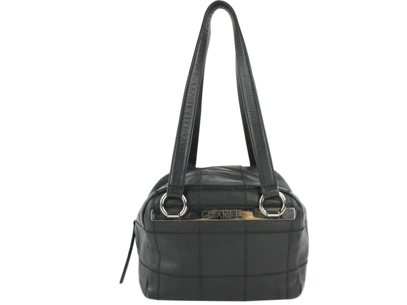 Chanel Large Chain Around Boston 4ce0109 Black Patent Leather Weekend/Travel Bag