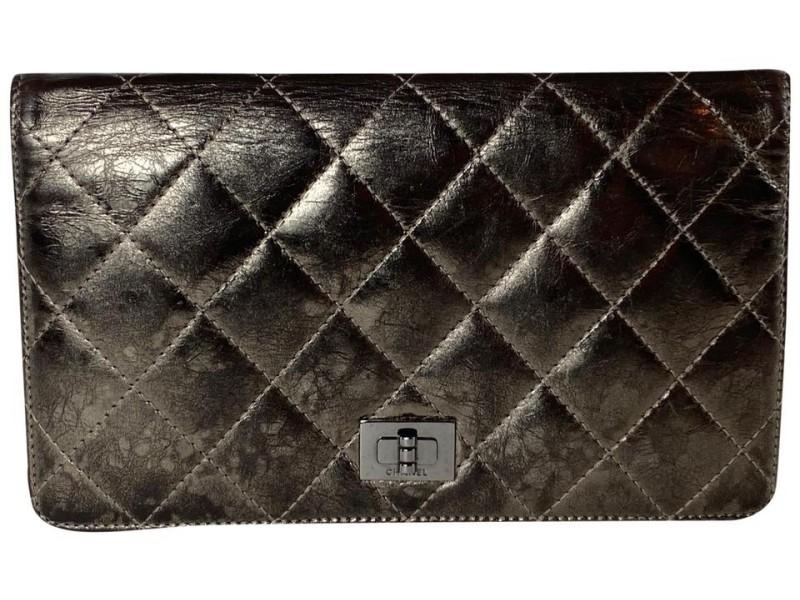Chanel Quilted Metallic Long Bifold Flap Wallet 20ca527 Pewter Bronze Leather Clutch