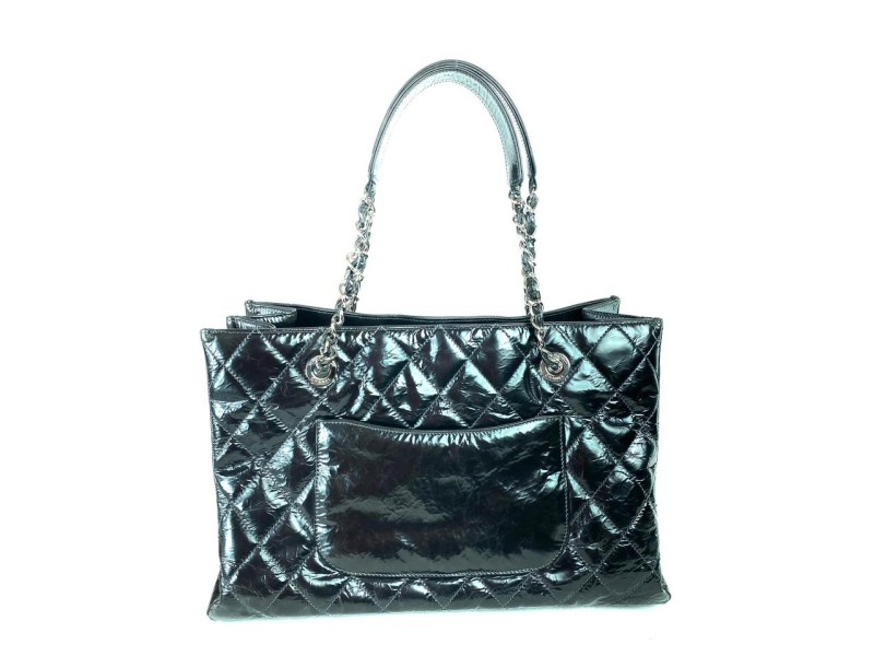 Chanel Shopping Extra Large Gst Distressed Grand 8cc717 Black Patent Leather Tote