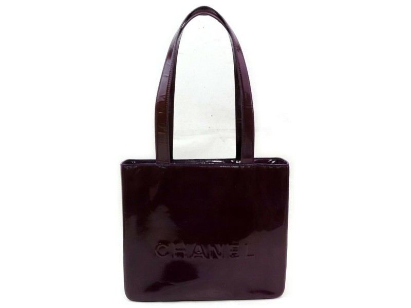 Chanel Shopping Logo Eggplant Maroon 872583 Purple Patent Leather Tote