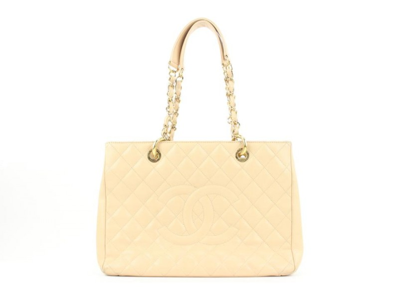 Chanel GST Beige Caviar Leather Grand Shopping Tote Chain Bag  10ccs114