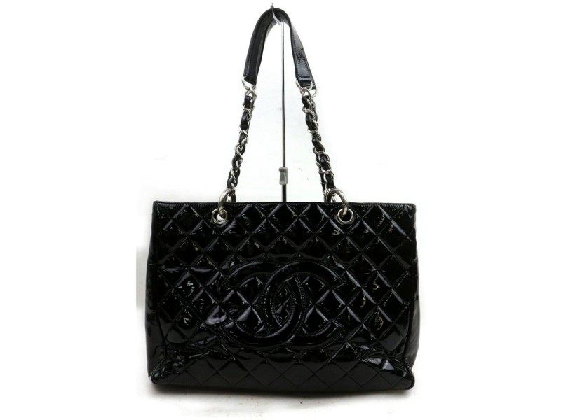Chanel Black Quilted Patent GST Grand Shopping Tote bag 227805