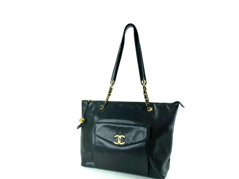 Chanel Supermodel Extra Large Caviar Chain Pocket Zip Flap 1cr1129 Black Leather Tote