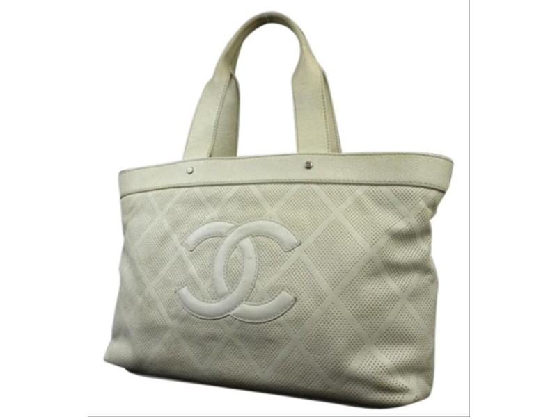 Chanel Off-White Perforated Leather CC Tote Up in The air 218856